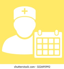 Doctor Calendar vector icon. Style is flat symbol, white color, rounded angles, yellow background.