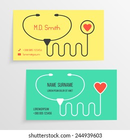 doctor card template with stethoscope icon. concept of healthy life, pediatric, pharmacy, advertise family physician. isolated on grey background. flat style modern branding design vector illustration