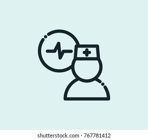 Doctor cardiogram icon isolated on clean background. Cardiologist concept drawing cardiogram icon in modern style. Doctor cardiogram icon vector illustration for your web mobile logo app UI design.