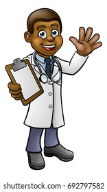 A doctor cartoon character holding a clip board and waving