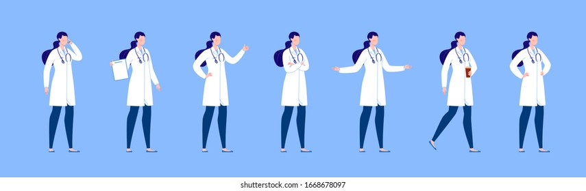Doctor character creation set with various poses and gestures. Isolated. Female doctor.