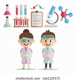 Doctor character man and women design with Medical Icons Set.