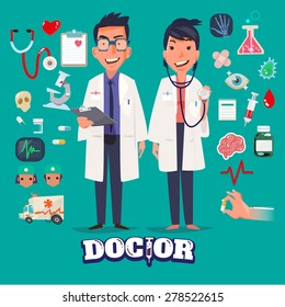 Doctor character man and women design with Medical Icons Set. medicine background with medical, health, healthcare, doctor. Design elements for infographic. typographic - vector illustration