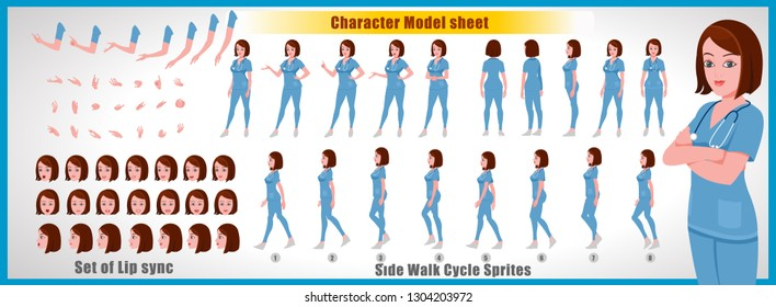 Doctor Character Model sheet with walk cycle animation.Doctor character design. Front, side, back view animated character. character creation set with various views, face emotions,poses and gestures.