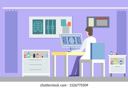 Doctor character sitting in x-ray cabinet and researching scan of bones, nightstands with drug. Medical technology radiography, patient treatment vector