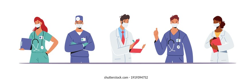 Doctor Characters in Medical Robe in Row. Hospital Healthcare Staff with Stethoscope, Medic Box Notebook, Physician in Uniform, Nurse in Clinic. Medicine Profession. Cartoon People Vector Illustration