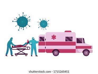 Doctor Characters Push Bed with Sick Man in Face Mask. Coronavirus Covid19 Pandemic Health and Medicine, Dangerous Contagious Infection, Sickness, Global Disease, Cartoon People Vector Illustration