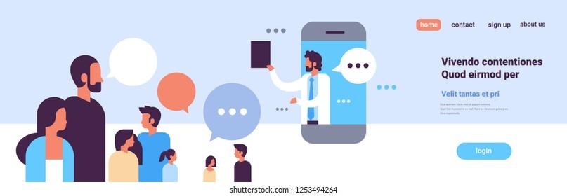 doctor chat bubble mobile application medical online consultation profile icon healthcare concept portrait banner copy space flat