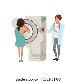 Doctor checking female patient breast with mammogram, healthcare and medicine concept vector Illustration on a white background