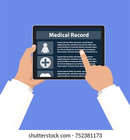Doctor checking medical record of patient by use hospital application program in tablet to connect database with WiFi and internet. Vector illustrator.