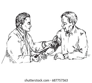 The doctor checks the blood pressure of an elderly patient, hand drawn doodle, sketch in pop art style, black and white vector illustration