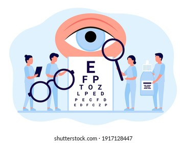 Doctor is checkup eye vision. Examination eyes people, focus correction treatment. Ophthalmology. Optometrist, ophthalmologist, medical staff people with glasses, vision test and eye drops. Vector