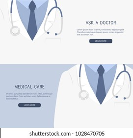 Doctor close up. Doctor icon. Medical background. Vector illustration. Ask a doctor, medical care.