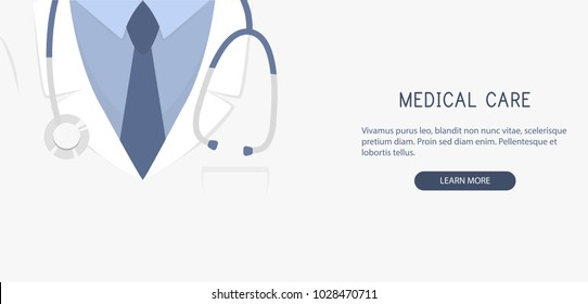 Doctor close up. Medical background. Vector illustration.