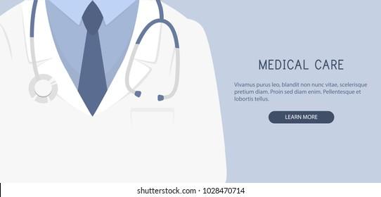 Doctor close up. Medical background. Vector illustration.
