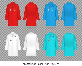 Doctor coat. Colorful lab uniform, doctor medical laboratory clothes vector 3d realistic isolated mockups
