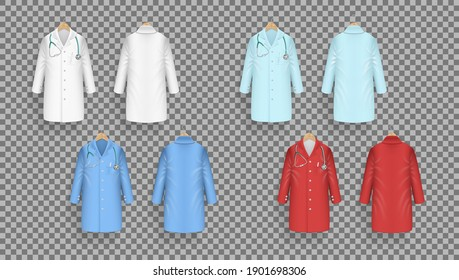 Doctor Coat In Different Colors On Hanger. Lab Uniform. Color Doctor Medical Laboratory Clothes. EPS10 Vector