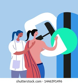 The doctor conducts mammography to the patient. Medical examination of the breast. Vector file editable EPS 10