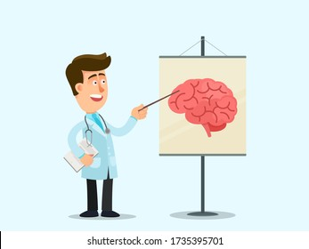 The doctor conducts a seminar about the human brain. Poster with brain structure. Training medical students, interns. Vector illustration, flat design, cartoon style, isolated background.