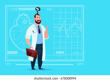 Doctor Confused Thinking Medical Clinics Worker Hospital Flat Vector Illustration