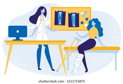Doctor Consulting Girl with Gypsum on Leg at Hospital Flat Cartoon Vector Illustration. Woman Talking to Patient with Trauma and Showing Xray Picture with Problems. Broken Bones, Injury.