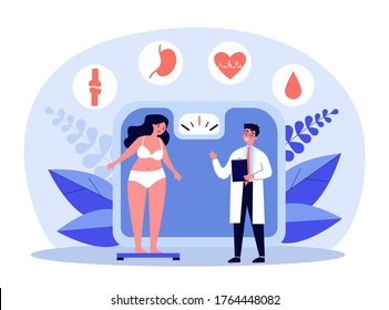 Doctor consulting overweight girl, flat vector illustration. Cartoon tiny woman with diabetes standing on scales. Fat problem, health and obesity concept