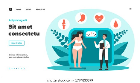 Doctor consulting overweight girl flat vector illustration. Cartoon tiny woman with diabetes standing on scales. Fat problem, health and obesity concept