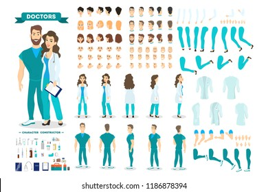 Doctor couple character set for the animation with various views, hairstyle, emotion, pose and gesture. Medical equipment. Male surgeon and female worker. Isolated vector illustration in cartoon style