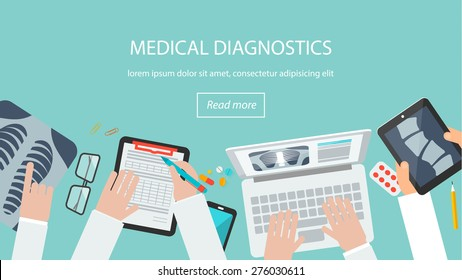 Doctor desk top view.  Web banner with medical staff looking at spine x-ray on tablet pc, examining chest on laptop in doctor's office. Healthcare diagnostics concept. Vector illustration