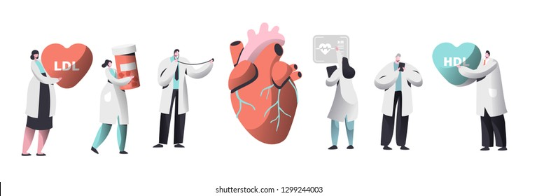 Doctor Diagnose Heart for Cholesterol Presence Set. Chemical Laboratory Data Science Character Collection. Woman Hold Pharmacy Medicine Container. Ldl Hdl Heart Flat Cartoon Vector Illustration