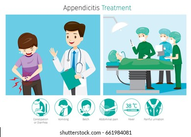 Doctor Diagnose And Operate On Appendicitis Patient, Appendix, Internal Organs, Body, Physical, Sickness, Anatomy, Health