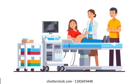 Doctor doing ultrasound fetus screening checkup in clinic office. Pregnant woman & husband couple visiting hospital doing baby belly sonography scan looking at machine screen. Flat vector illustration