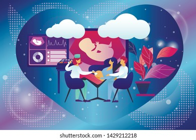 Doctor Doing Ultrasound Fetus Screening Checkup in Clinic. Pregnant Woman and Husband Couple Visit Hospital Doing Baby Belly Sonography Scan Looking at Machine Screen. Cartoon Flat Vector Illustration
