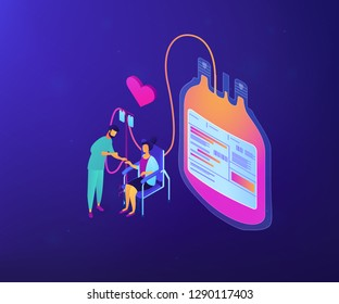 Doctor and donor sitting in chair and donating blood for transfusions. Blood donation, blood donor, hemolytic transfusion bank concept. Ultraviolet neon vector isometric 3D illustration.