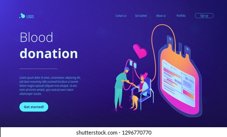 Doctor and donor sitting in chair and donating blood for transfusions. Blood donation, blood donor, hemolytic transfusion bank concept. Isometric 3D website app landing web page template
