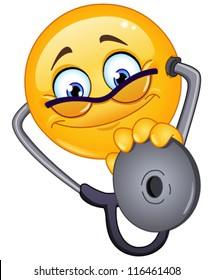 Doctor emoticon with stethoscope