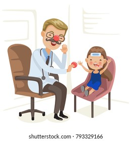 Doctor examination and little girl is sick. Red Nose Day, health workers wearing a red nose and interacting with children. Doctors Day, doctors both alone and with patients. Vector  illustration.