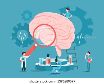 Doctor examine huge brain. Idea of medical treatment and healthcare. Treating headache and migraine. Vector illustration in cartoon style