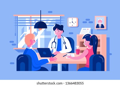 Doctor examined patients vector illustration. Family doc consults man and woman flat style design. People sign declaration with therapist. Cabinet interior, white uniform helthcare concept