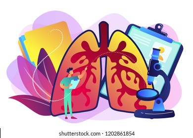 Doctor examines huge lungs desease and microscope. Obstructive pulmonary disease, chronic bronchitis and emphysema concept on white background. Bright vibrant violet vector isolated illustration