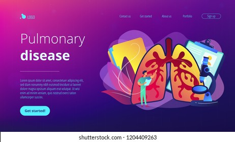 Doctor examines huge lungs desease and microscope. Obstructive pulmonary disease, chronic bronchitis and emphysema concept on white background. Website vibrant violet landing web page template.