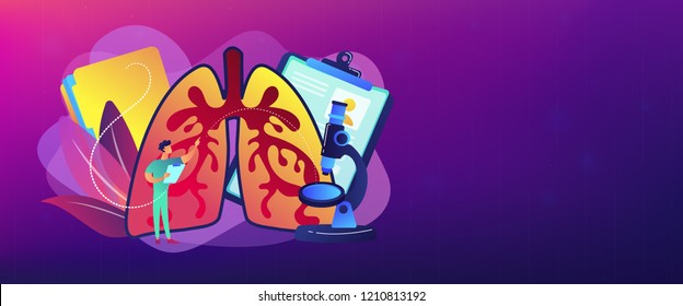 Doctor examines huge lungs desease and microscope. Obstructive pulmonary disease, chronic bronchitis and emphysema concept on white background. Header or footer banner template with copy space.