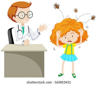 Doctor examining girl with head lice illustration