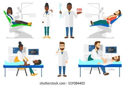 Doctor examining internal organs of patient on ultrasound. Doctor working on ultrasound equipment. Doctor using ultrasound machine. Set of vector flat design illustrations isolated on white background