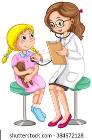 Doctor examining little girl illustration