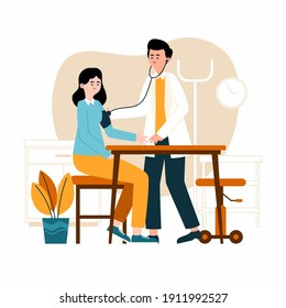 Doctor examining a patient at the clinic Vector illustration.