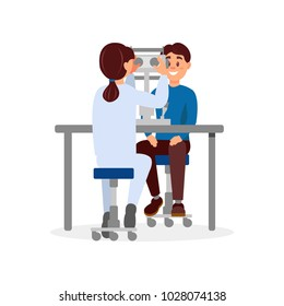 Doctor examining patient s eyesight using professional ophthalmological equipment. Medical service. Healthcare and treatment. Modern technologies. Flat vector design