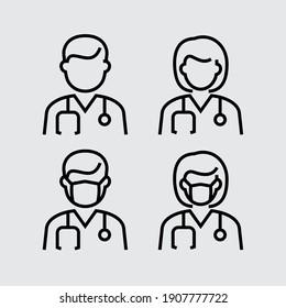 Arzt mit Vektorgrafik-Vektorgrafik-Symbolen der Gesichtsmaske