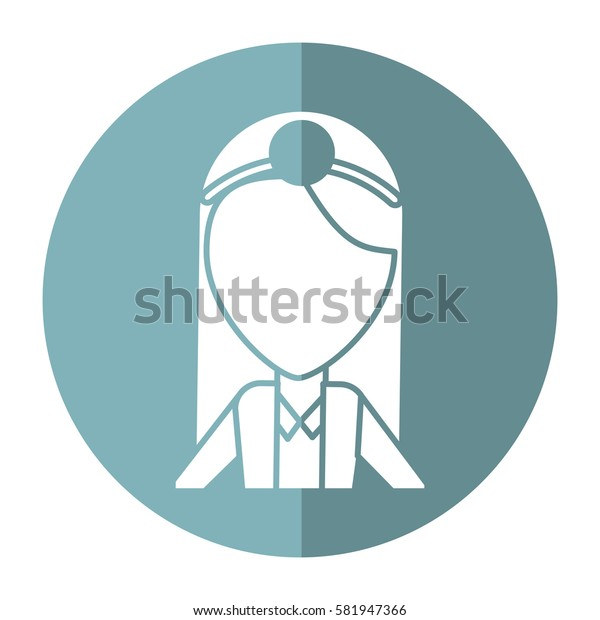 doctor female with head mirror and coat shadow