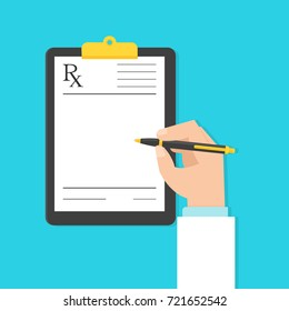 Doctor filling up medical prescription. Vector illustration in flat style